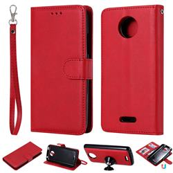Retro Greek Detachable Magnetic PU Leather Wallet Phone Case for Motorola Moto C Plus - Red