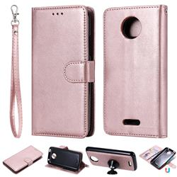 Retro Greek Detachable Magnetic PU Leather Wallet Phone Case for Motorola Moto C Plus - Rose Gold