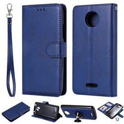 Retro Greek Detachable Magnetic PU Leather Wallet Phone Case for Motorola Moto C Plus - Blue