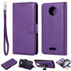 Retro Greek Detachable Magnetic PU Leather Wallet Phone Case for Motorola Moto C Plus - Purple