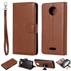 Retro Greek Detachable Magnetic PU Leather Wallet Phone Case for Motorola Moto C Plus - Brown