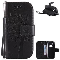 Embossing Butterfly Tree Leather Wallet Case for Nokia New 3310 - Black