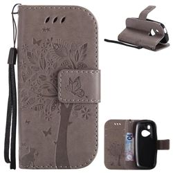 Embossing Butterfly Tree Leather Wallet Case for Nokia New 3310 - Grey
