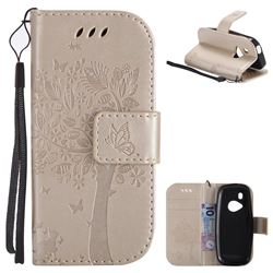 Embossing Butterfly Tree Leather Wallet Case for Nokia New 3310 - Champagne