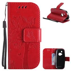 Embossing Butterfly Tree Leather Wallet Case for Nokia New 3310 - Red