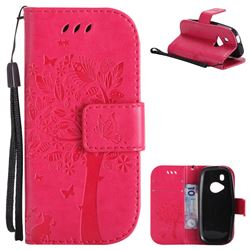 Embossing Butterfly Tree Leather Wallet Case for Nokia New 3310 - Rose