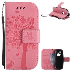 Embossing Butterfly Tree Leather Wallet Case for Nokia New 3310 - Pink