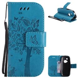 Embossing Butterfly Tree Leather Wallet Case for Nokia New 3310 - Blue