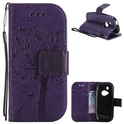 Embossing Butterfly Tree Leather Wallet Case for Nokia New 3310 - Purple