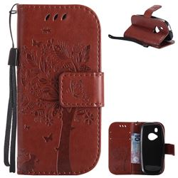 Embossing Butterfly Tree Leather Wallet Case for Nokia New 3310 - Brown
