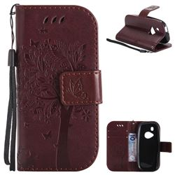 Embossing Butterfly Tree Leather Wallet Case for Nokia New 3310 - Coffee