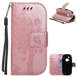 Embossing Butterfly Tree Leather Wallet Case for Nokia New 3310 - Rose Pink