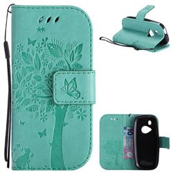 Embossing Butterfly Tree Leather Wallet Case for Nokia New 3310 - Cyan