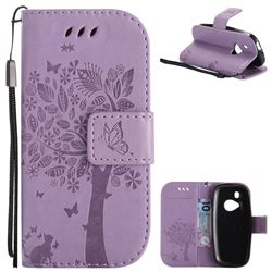 Embossing Butterfly Tree Leather Wallet Case for Nokia New 3310 - Violet