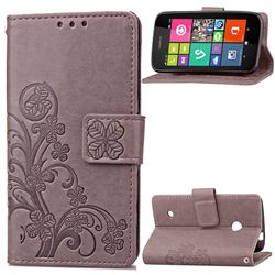 Embossing Imprint Four-Leaf Clover Leather Wallet Case for Nokia Lumia 530 - Gray