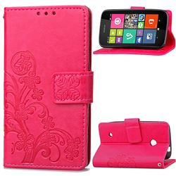 Embossing Imprint Four-Leaf Clover Leather Wallet Case for Nokia Lumia 530 - Rose