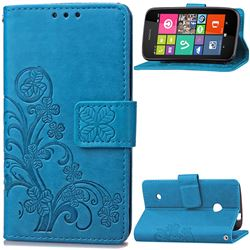 Embossing Imprint Four-Leaf Clover Leather Wallet Case for Nokia Lumia 530 - Blue