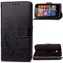Embossing Imprint Four-Leaf Clover Leather Wallet Case for Nokia Lumia 630 - Black