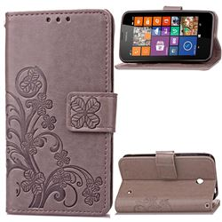 Embossing Imprint Four-Leaf Clover Leather Wallet Case for Nokia Lumia 630 - Gray