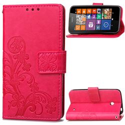 Embossing Imprint Four-Leaf Clover Leather Wallet Case for Nokia Lumia 630 - Rose