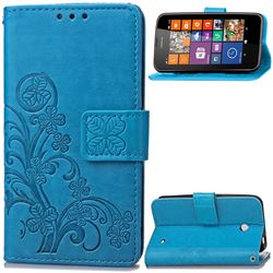 Embossing Imprint Four-Leaf Clover Leather Wallet Case for Nokia Lumia 630 - Blue