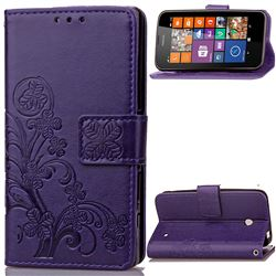 Embossing Imprint Four-Leaf Clover Leather Wallet Case for Nokia Lumia 630 - Purple