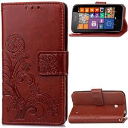 Embossing Imprint Four-Leaf Clover Leather Wallet Case for Nokia Lumia 630 - Brown