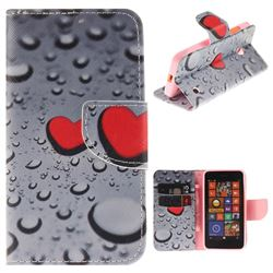Heart Raindrop PU Leather Wallet Case for Nokia Lumia 630 N630