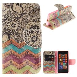 Wave Flower PU Leather Wallet Case for Nokia Lumia 630 N630
