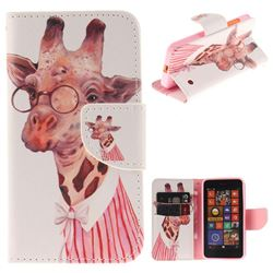 Pink Giraffe PU Leather Wallet Case for Nokia Lumia 630 N630