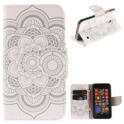 White Flowers PU Leather Wallet Case for Nokia Lumia 630 N630