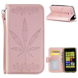 Intricate Embossing Maple Leather Wallet Case for Nokia Lumia 630 N630 - Rose Gold