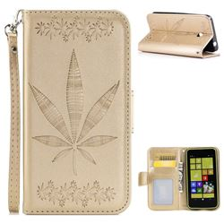 Intricate Embossing Maple Leather Wallet Case for Nokia Lumia 630 N630 - Champagne