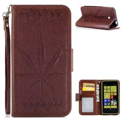 Intricate Embossing Maple Leather Wallet Case for Nokia Lumia 630 N630 - Brown