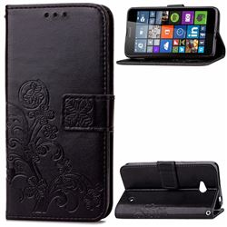 Embossing Imprint Four-Leaf Clover Leather Wallet Case for Nokia Lumia 640 - Black