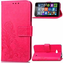 Embossing Imprint Four-Leaf Clover Leather Wallet Case for Nokia Lumia 640 - Rose