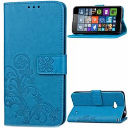 Embossing Imprint Four-Leaf Clover Leather Wallet Case for Nokia Lumia 640 - Blue