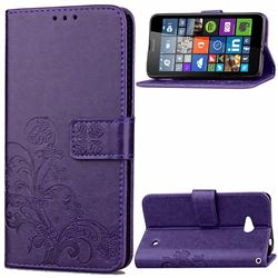 Embossing Imprint Four-Leaf Clover Leather Wallet Case for Nokia Lumia 640 - Purple