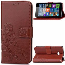 Embossing Imprint Four-Leaf Clover Leather Wallet Case for Nokia Lumia 640 - Brown