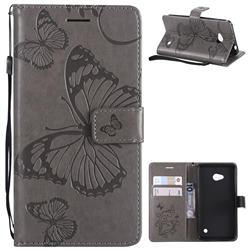 Embossing 3D Butterfly Leather Wallet Case for Nokia Lumia 640 N640 - Gray