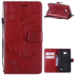 Embossing 3D Butterfly Leather Wallet Case for Nokia Lumia 640 N640 - Red