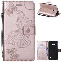 Embossing 3D Butterfly Leather Wallet Case for Nokia Lumia 640 N640 - Rose Gold