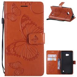 Embossing 3D Butterfly Leather Wallet Case for Nokia Lumia 640 N640 - Orange