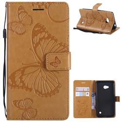 Embossing 3D Butterfly Leather Wallet Case for Nokia Lumia 640 N640 - Yellow