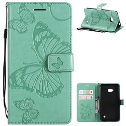 Embossing 3D Butterfly Leather Wallet Case for Nokia Lumia 640 N640 - Green