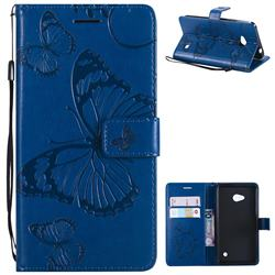 Embossing 3D Butterfly Leather Wallet Case for Nokia Lumia 640 N640 - Blue
