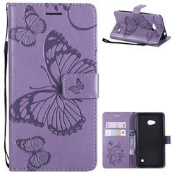 Embossing 3D Butterfly Leather Wallet Case for Nokia Lumia 640 N640 - Purple