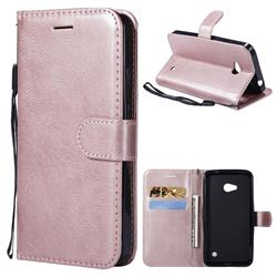 Retro Greek Classic Smooth PU Leather Wallet Phone Case for Nokia Lumia 640 N640 - Rose Gold