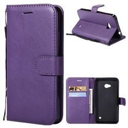 Retro Greek Classic Smooth PU Leather Wallet Phone Case for Nokia Lumia 640 N640 - Purple