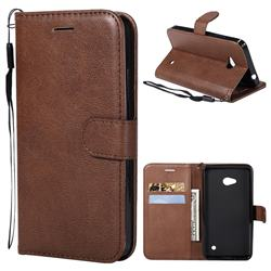 Retro Greek Classic Smooth PU Leather Wallet Phone Case for Nokia Lumia 640 N640 - Brown
